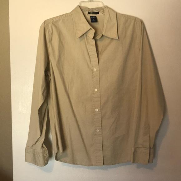 b455195a GAP Tops   220 Womens Tan Button Down Shirt   Poshmark